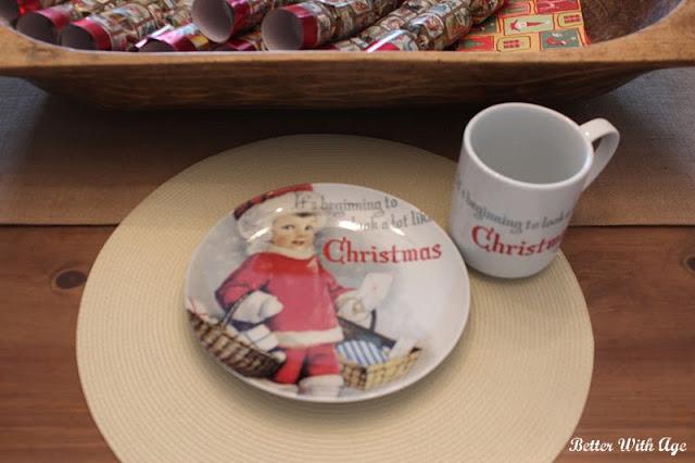 A vintage Christmas plate and mug.