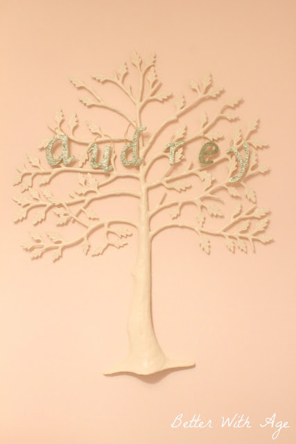 Nursery Room Reveal / glitter letters and tree - So Much Better With Age