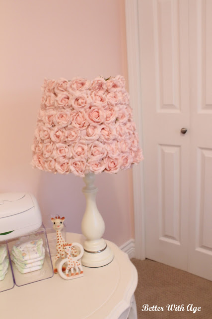 Nursery room reveal / pink flowered lamp - So Much Better With Age