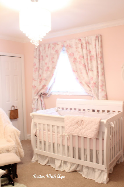 Baby girl nursery / pink flowered curtains - So Much Better With Age