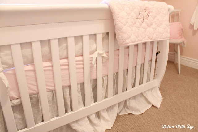 Nursery Room Reveal / linen crib skirt - So Much Better With Age