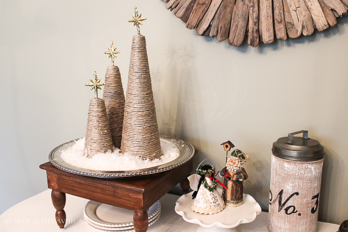 Twine Christmas Trees/ silver platter - So Much Better With Age