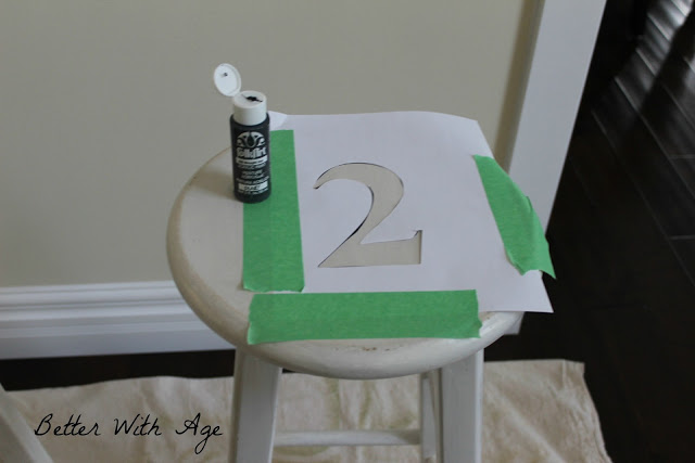 Two little stools / taped numbers on stools - So Much Better With Age