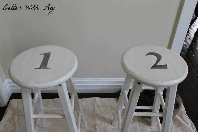 Two little stools / distressed numbers on stools - So Much Better With Age