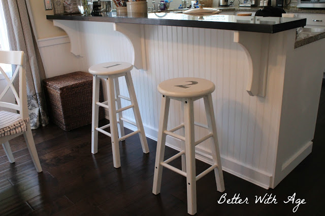 Two little stools / stools in front of island - So Much Better With Age