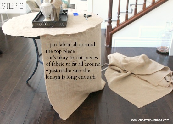 How to make a burlap tablecloth / pinning the tablecloth - So Much Better With Age