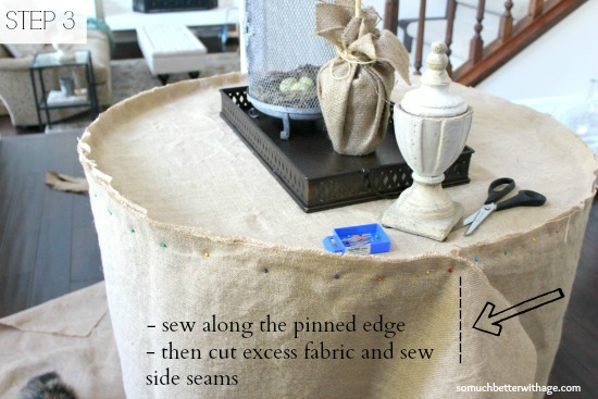 How to make a burlap tablecloth / sewing the pinned edges - So Much Better With Age