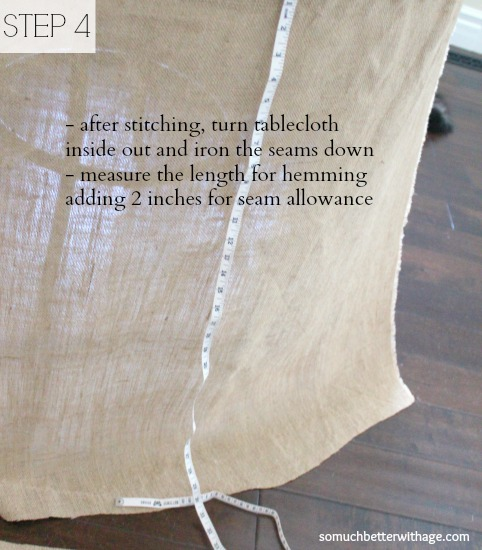 How to make a burlap tablecloth / ironing the tablecloth - So Much Better With Age