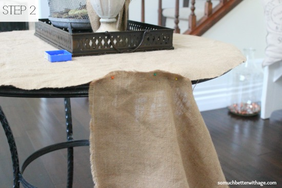 How to make a burlap tablecloth / showing you how to pin the cloth panels - So Much Better With Age