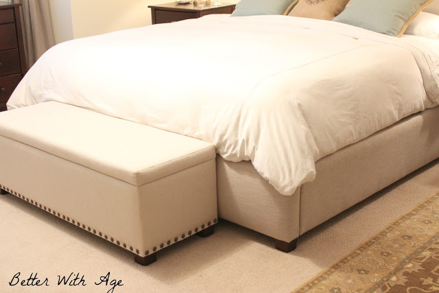 Pottery Barn bed / Upcycled bedskirt via somuchbetterwithage.com
