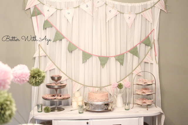 Party curtains and pompoms / decorated party curtains - So Much Better With Age