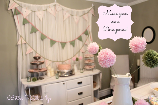 Party curtains and pompom flowers / pompom flowers in vase - So Much Better With Age