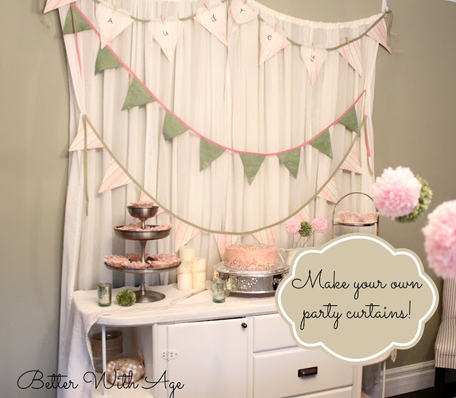 Party curtains and pompom flowers - So Much Better With Age