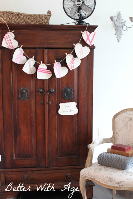 Valentine's Day garland / garland hanging on armoire - So Much Better With Age