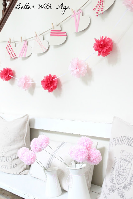 Valentine's Day garland / pink and white in room - So Much Better With Age