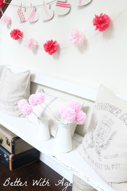 Valentine's Day garland / flowers and pillows - So Much Better With Age