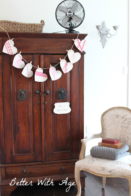 Valentine's Day garland / garland hanging in room with French vintage chair - So Much Better With Age