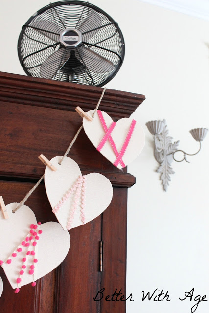 Valentine's Day garland / garland hanging with clothespins - So Much Better With Age