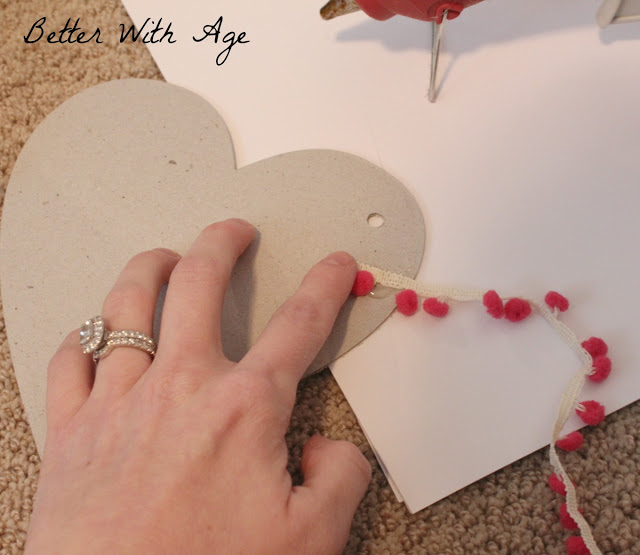 Valentine's Day / attaching the trim to the heart - So Much Better With Age