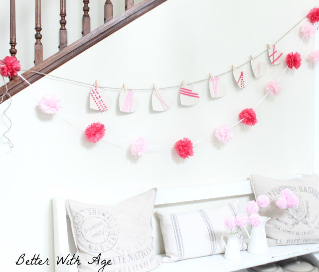 Valentine's Day garland / garland hanging with pom poms - So Much Better With Age