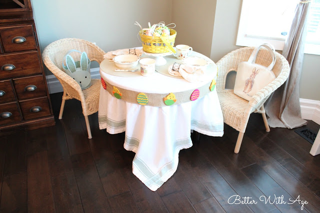 Kids Easter Table / cute Easter basket on table - So Much Better With Age