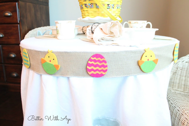 Kids Easter Table / burlap ribbon on table - So Much Better With Age