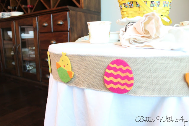 Kids Easter Table / stickers on burlap ribbon - So Much Better With Age
