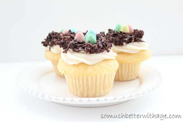 Spring cupcakes / mini eggs on nests - So Much Better With Age