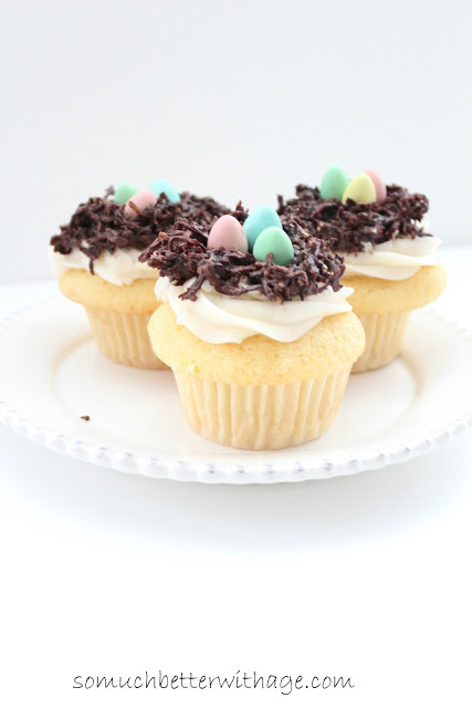 Bird's nest cupcakes / decorated cupcakes on plate - So Much Better With Age