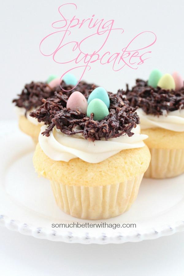 Spring Cupcakes (Magnolia recipe) | somuchbetterwithage.com