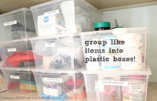 Pantry Reveal With Lots Of Tips / plastic shoe storage bins - So Much Better With Age