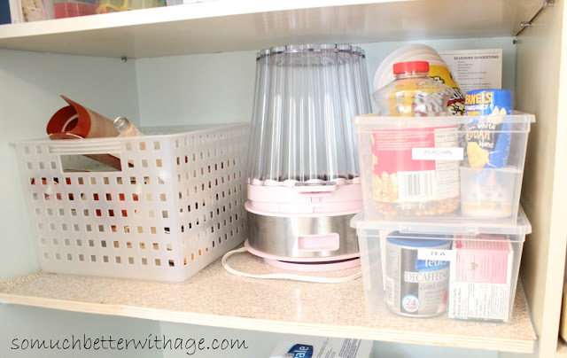 Pantry Reveal With Lots Of Tips / popcorn section in pantry - So Much Better With Age