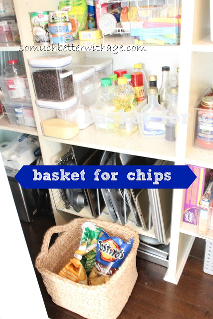 Pantry Reveal With Lots Of Tips / basket just for chips - So Much Better With Age