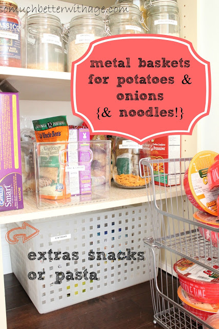 Pantry Reveal With Lots Of Tips / metal baskets in pantry - So Much Better With Age