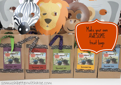 Safari birthday party / Safari themed gift bags - So Much Better With Age