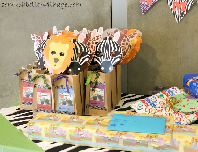 Safari birthday party / gift bags on table - So Much Better With Age