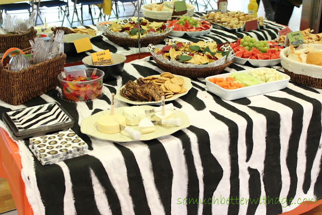 Safari Tablecloth And Cake / the zebra tablecloth on table with party food - So Much Better With Age