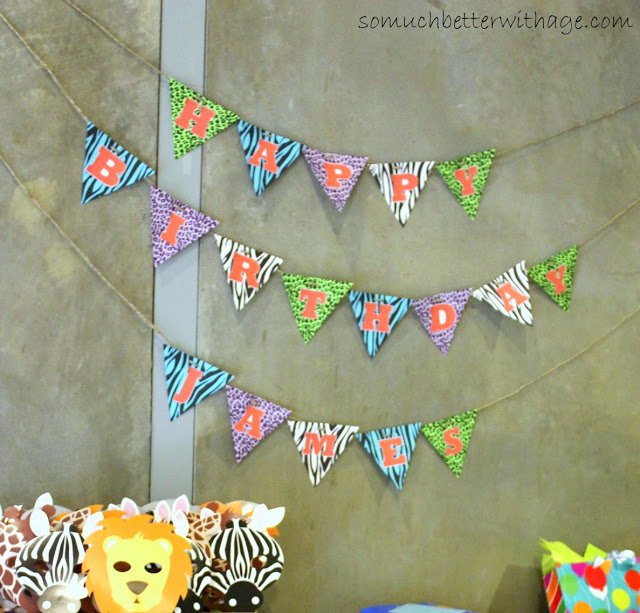 Safari Treat Bags and Birthday Banner / the banner hanging about treat table - So Much Better With Age