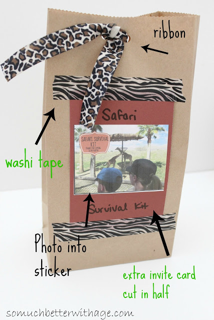 Safari treat bags and birthday banner / paper bag with safari motif - So Much Better With Age