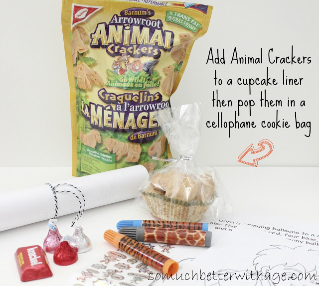 Safari treat bags and birthday banner / adding animal cookies to a cupcake liner - So Much Better With Age