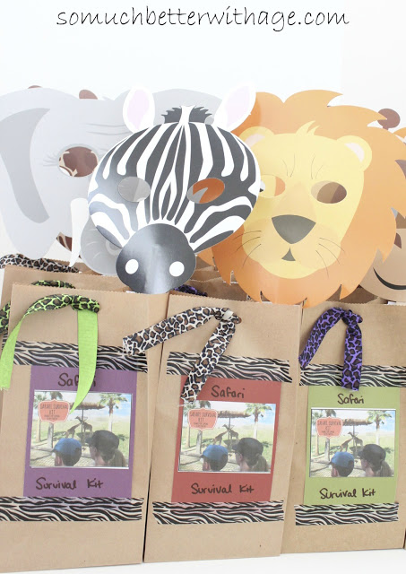 Safari treat bags and birthday banner / cute animal paper bags all filled - So Much Better With Age