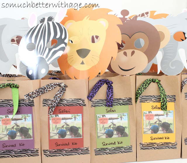 Safari treat bags and birthday banner / up close of the animal cutouts for the bags - So Much Better With Age