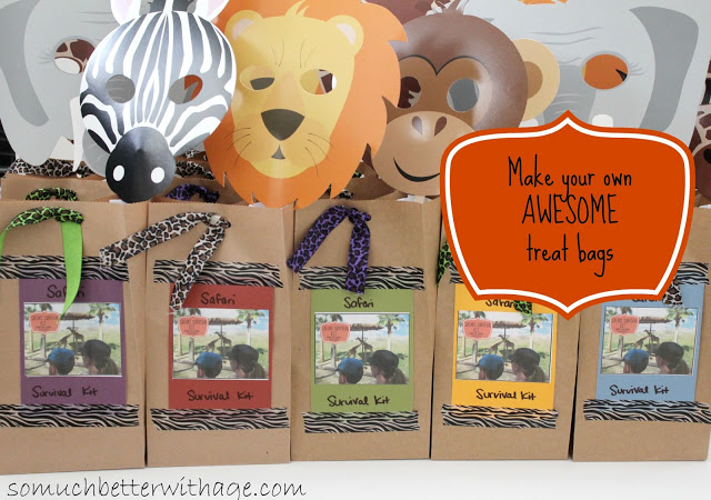 Safari treat bags and birthday banner - So Much Better With Age