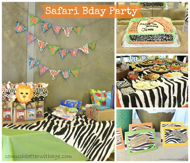 Safari birthday party and birthday banner / the treat table with cake - So Much Better With Age