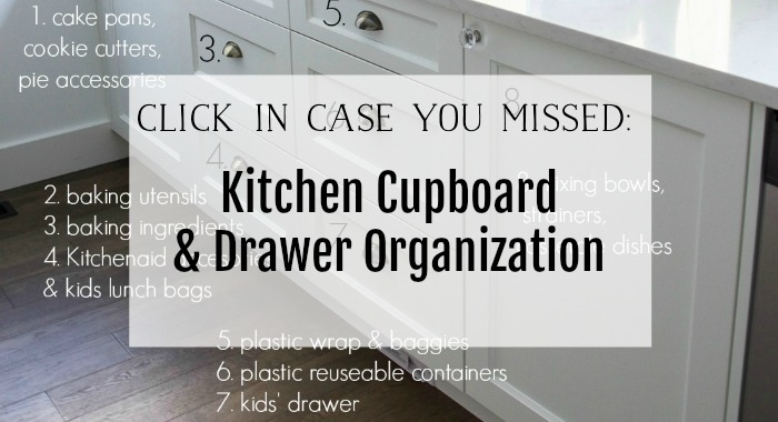 Kitchen cupboard and drawer organization poster.