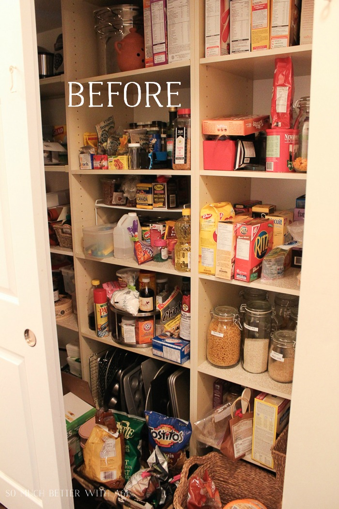 Pantry Reveal with Lots of Tips & 14 Storage Ideas/ before pantry - So Much Better With Age