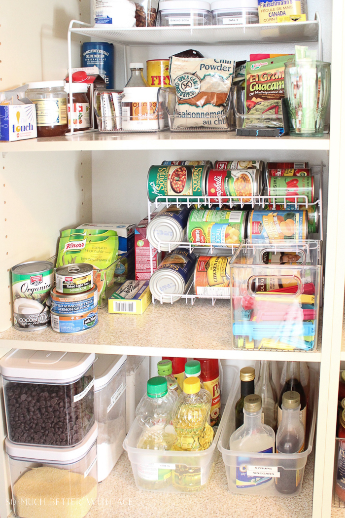 Pantry Reveal with Lots of Tips & 14 Storage Ideas/ soup can dispenser - So Much Better With Age