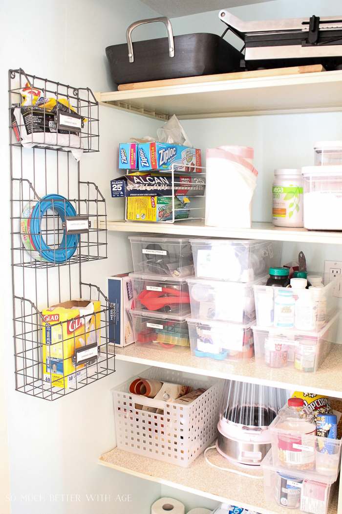 Pantry Reveal with Lots of Tips & 14 Storage Ideas/ clear boxes of kitchen items - So Much Better With Age