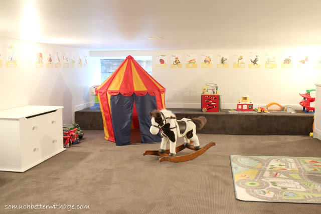 Basement before and after / back area of basement with tent and rocking horse - So Much Better With Age