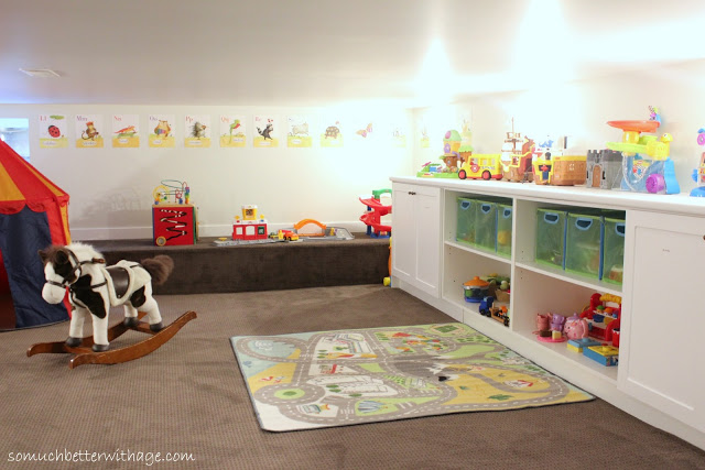 Basement before and after / kid friendly light fixtures - So Much Better With Age
